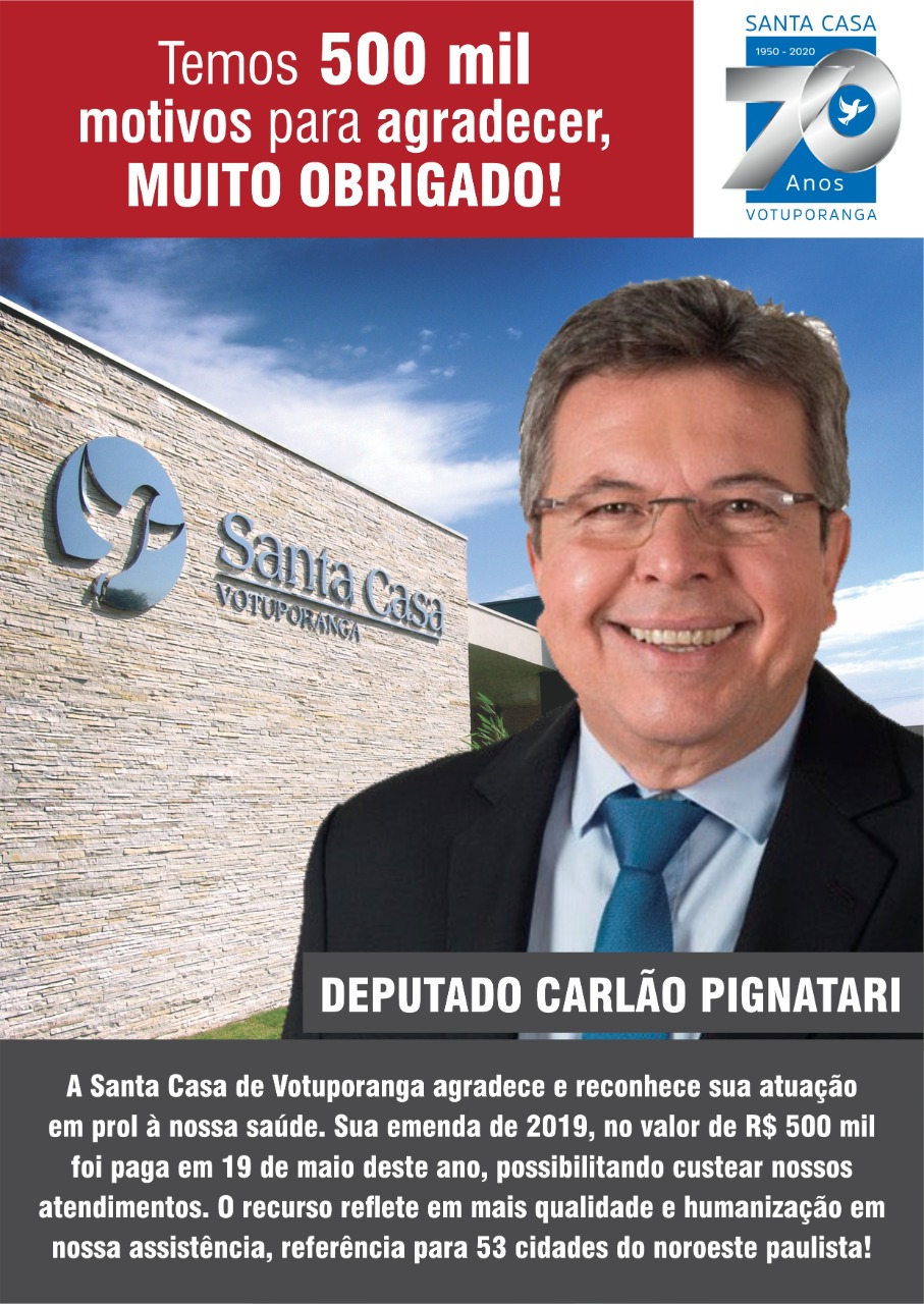 Santa Casa recebe R$500 mil de emenda de Carlão Pignatari