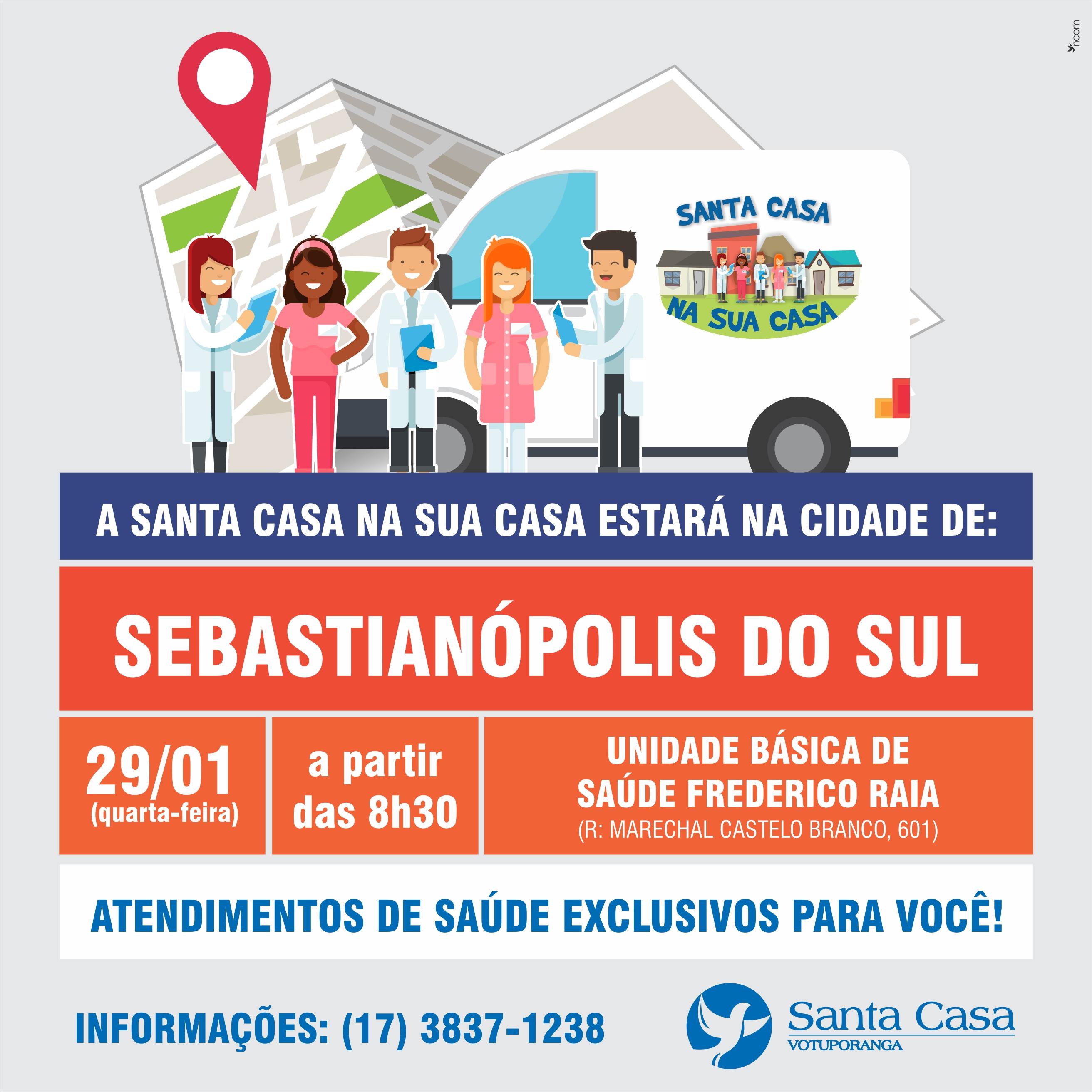 """Sebastianópolis do Sul recebe """"Santa Casa na sua Casa"""" nesta quarta-feira"""