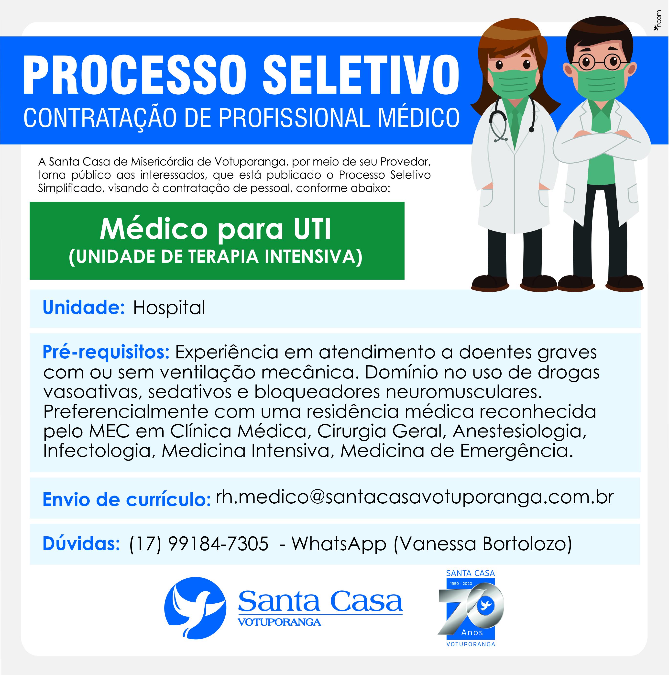 Santa Casa de Votuporanga contrata médicos para UTIs