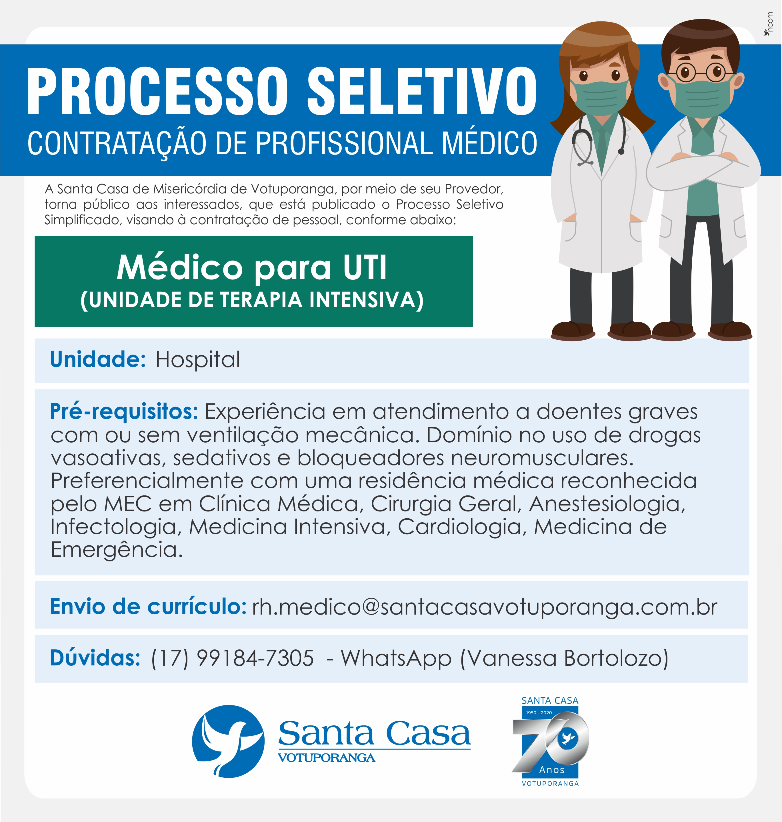 Santa Casa de Votuporanga contrata médico para UTI