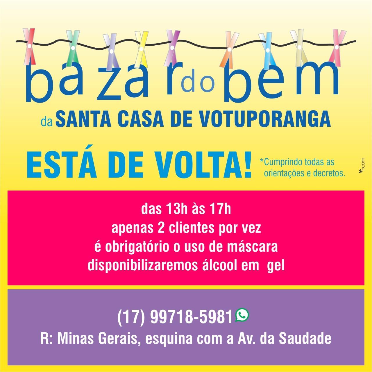 Bazar do Bem retoma suas atividades presenciais